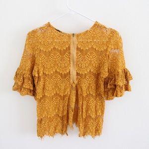 Mustard Lace Ruffle Sleeve Split Back Top